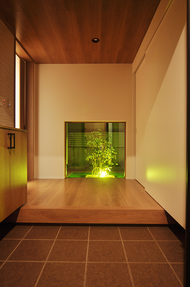 地窓から除くライトアップされた植栽